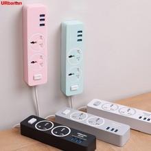 Power Strip Socket Portable Strip Plug Adapter with 3 USB Port Multifunctional Smart Home Electronics Universal socket EU UK AU