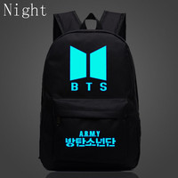 2017 Kpop BTS Bangtan Boys Luminous Backpacks New Logo Door ARMY Letter Backpack Student Schoolbag Shoulder