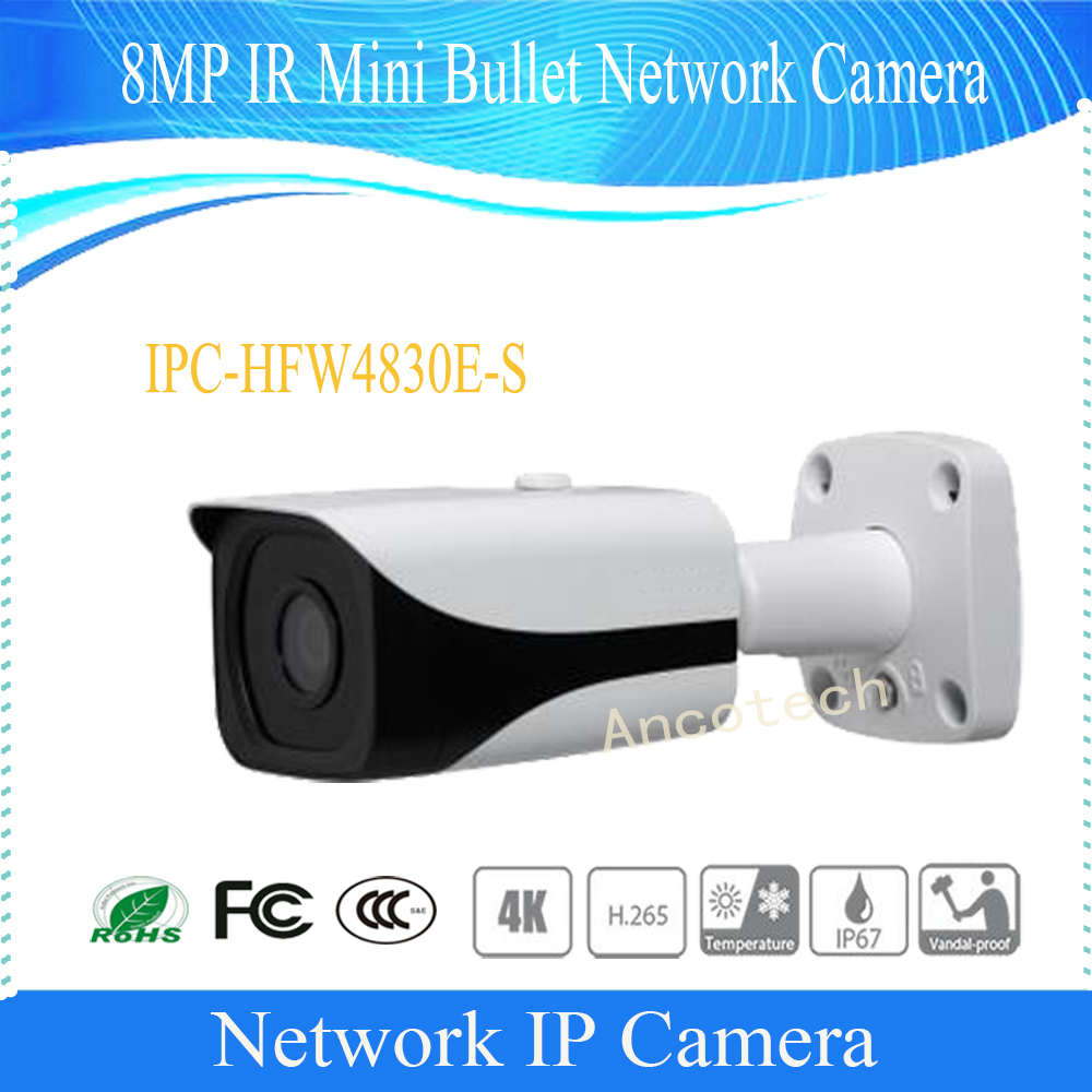 Free Shipping DAHUA Security IP Camera CCTV 8MP FULL HD IR Mini Bullet Network Camera IP67 with POE Without Logo IPC-HFW4830E-S free shipping dahua security ip camera cctv 8mp full hd ir bullet network camera with poe ip67 ik10 without logo ipc hfw5830e z