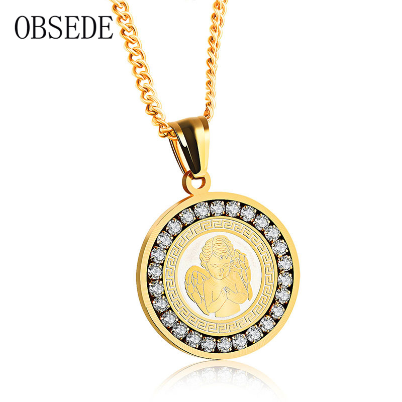 OBSEDE Couple Necklace Angel Wing Pendant With Crystal Stainless Steel Necklaces & Pendants For Women Men Silver/Gold Jewelry men s stainless steel tag pendant with crystal silver