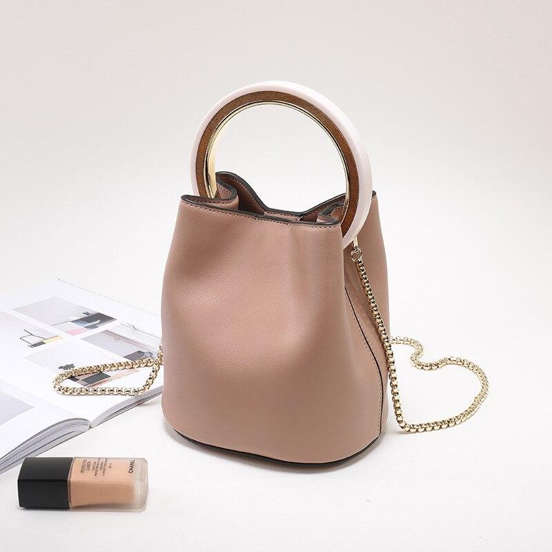 Sac à main femme en cuir fendu 2019 Vintage chaînes sac à main bandoulière femmes Chic anneau sac seau grande capacité petit sac fourre-tout - 2
