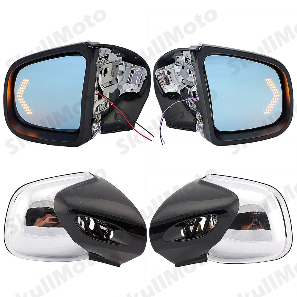 Motorcycle Accessories Chrome Rearview Side Mirrors LED Blinker Turn Signals For 1999 2008 BMW K1200LT K1200M