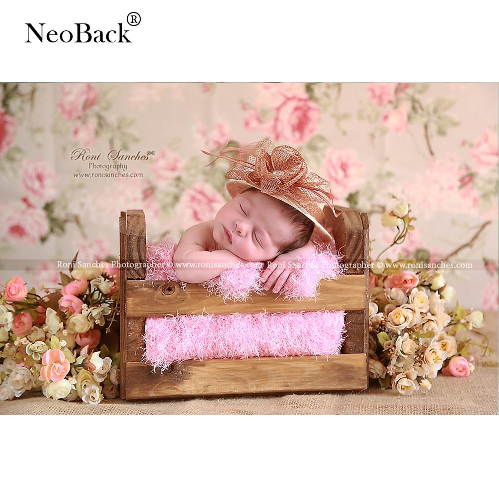 얇은 비닐 신생아 아기 사진 배경 인쇄 핑크 꽃 우드 어린이 사진 스튜디오 상업 사진 배경