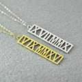 Free shipping- Personalized Roman Numeral Necklace, Gold plated Silver Custom Roman Numeral date Jewelry, Anniversary necklace