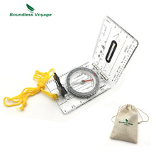 Boundless Voyage Multifunction Outdoor Survival Camping Compass Hiking Ruler Map Scale Military Compass BVC03(China)