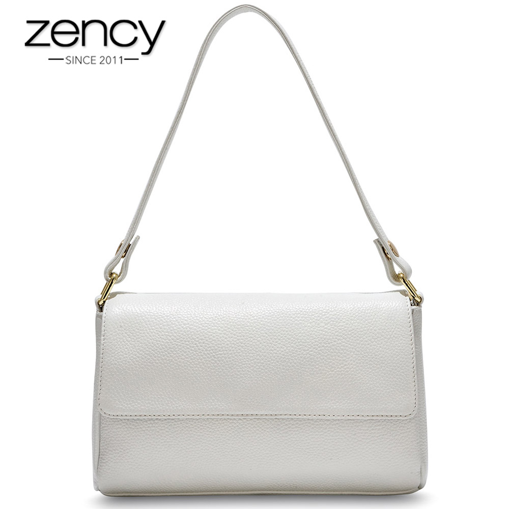 Zency 100% en cuir véritable femme bandoulière Messenger sac à main nouveau modèle femmes sac à bandoulière noir blanc sac à main fourre-tout de haute qualité