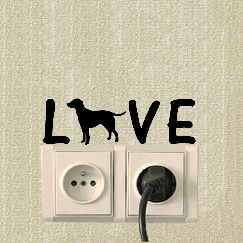 New 3D wall sticker wall decoration switch love dog decals for children 39 s room wallpaper decorated stickers on the wall in Wall Stickers from Home amp Garden