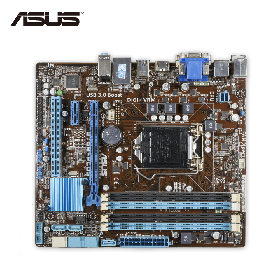 Asus B75M-PLUS Original Used Desktop Motherboard B75 Socket LGA 1155 i3 i5 i7 DDR3 32G SATA3 USB3.0 uATX free shipping original motherboard for asus f2a55 m lk2 plus a55 fm2 ddr3 32g