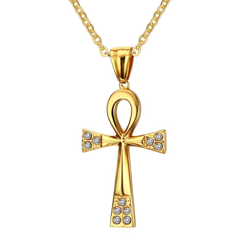 Croix Religieuses femmes colliers eternity Égyptien ankh croix religieuse avec cubique