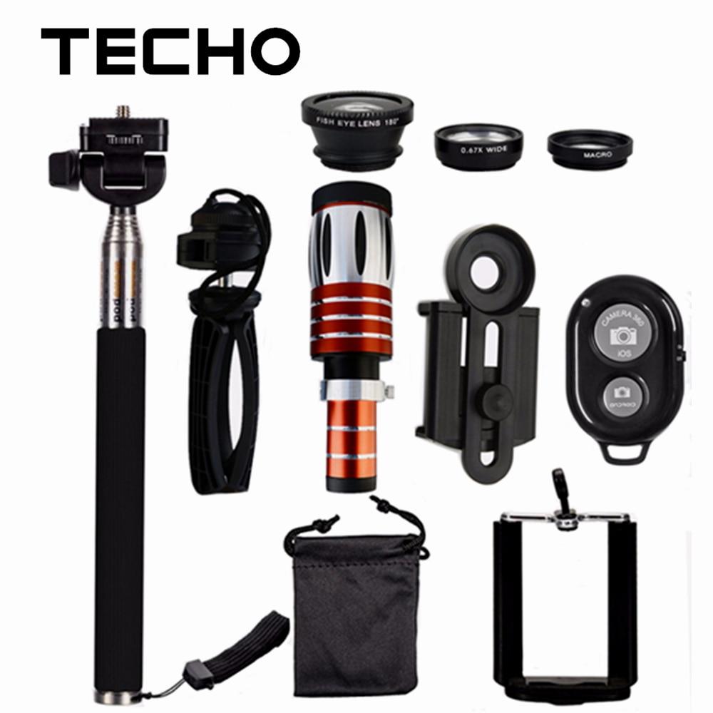 TECHO Clip Lenses Kit 50X Telescope + 3 in 1 Fish Eye ...