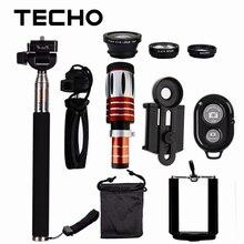 TECHO Clip Lenses Kit 50X Telescope + 3 in 1 Fish Eye Lense + Phone Selfie Stick Holder + Bluetooth Shutter For Smartphone