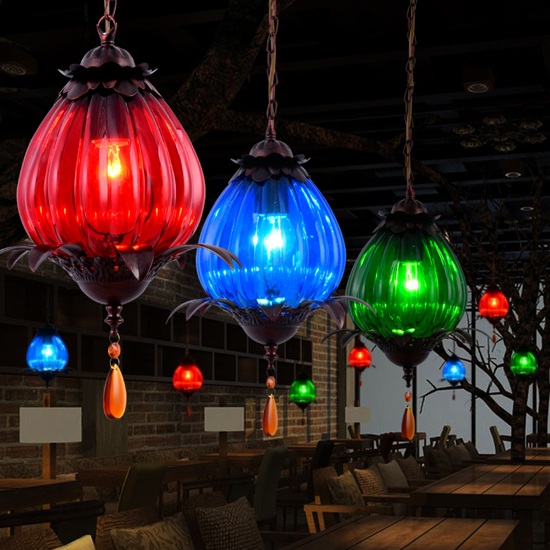 Vintage Colorful Glass Droplight Cafe Bar Coloured Glaze Glass Pendant Lamp vintage loft industrial edison flower glass ceiling lamp droplight pendant hotel hallway store club cafe beside coffee shop
