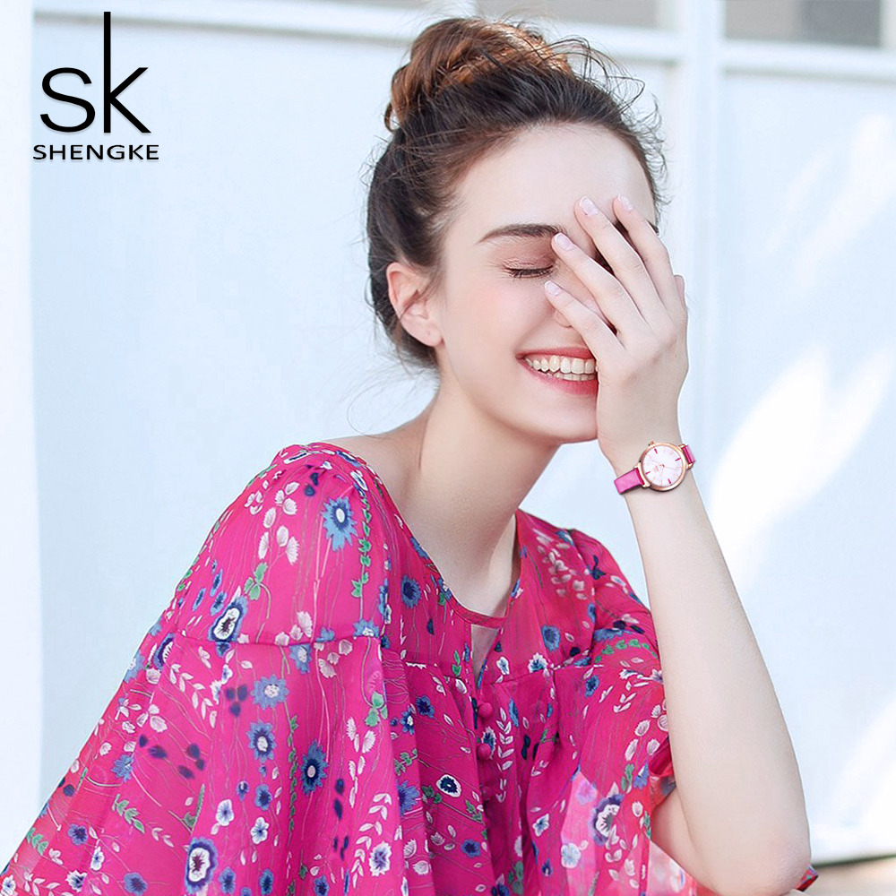 Shengke Fashion Watch Watches Purple Simple Quartz Female Watch Luminous Pointer Leather Lady Watch Reloj Mujer Montre Femme
