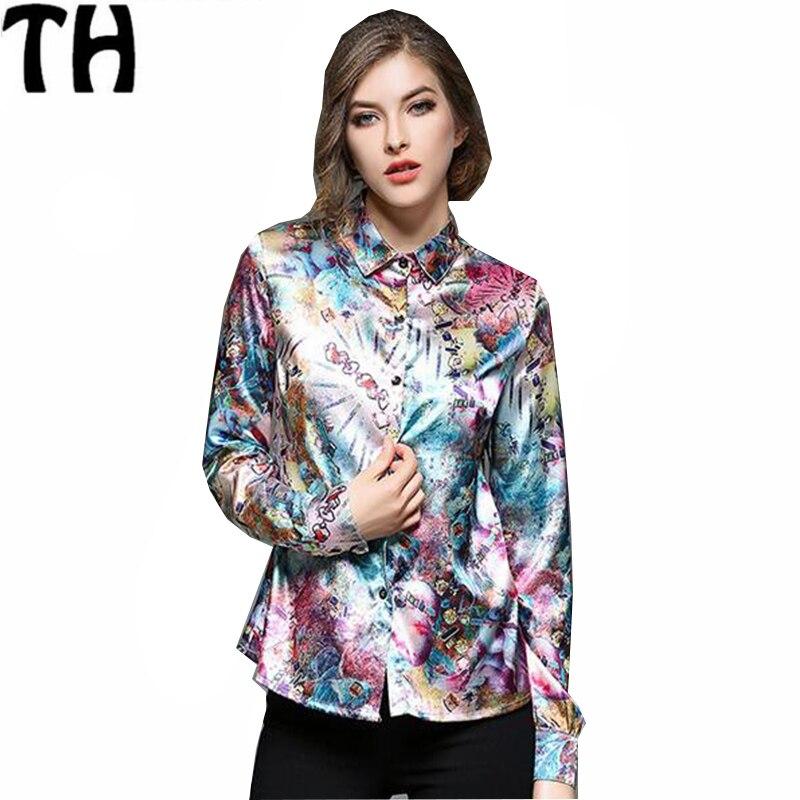 4 colores de impresión blusas de las mujeres 2017 otoño del resorte nuevas mujer