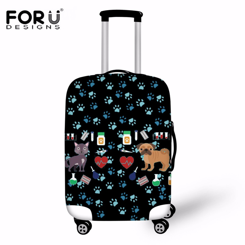 FORUDESIGNS Medical Dog Design Luggage Protective Covers Elastic Trolley Travel Suitcase Bags Dust Rain Cases For 18-30 Inch