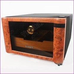 Humidificador de madera para cigarros (80 puros), gabinete electrónico con Control de temperatura, luz LED, Humidificador termostático
