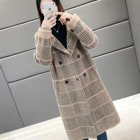 Fashion Autumn Winter Loose Long Woolen Jacket Tops Ladies Sweet Blends Coats Faux Mink Fur Plaid Coats Women LJ2028