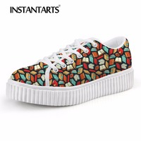 INSTANTARTS Women Autumn Flats Shoes Women's Casual Platform Shoes Teenager Height Increasing 3D Lover Book Print Ladies Shoes