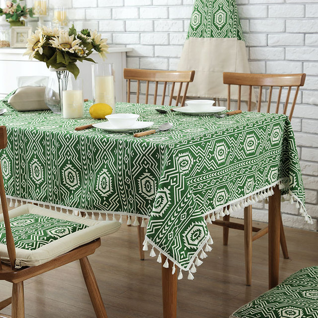 Sunnyrain 1 Piece Cotton Indian Pattern Table Cloth Rectangle Tablecloth For Dining Thick Cover