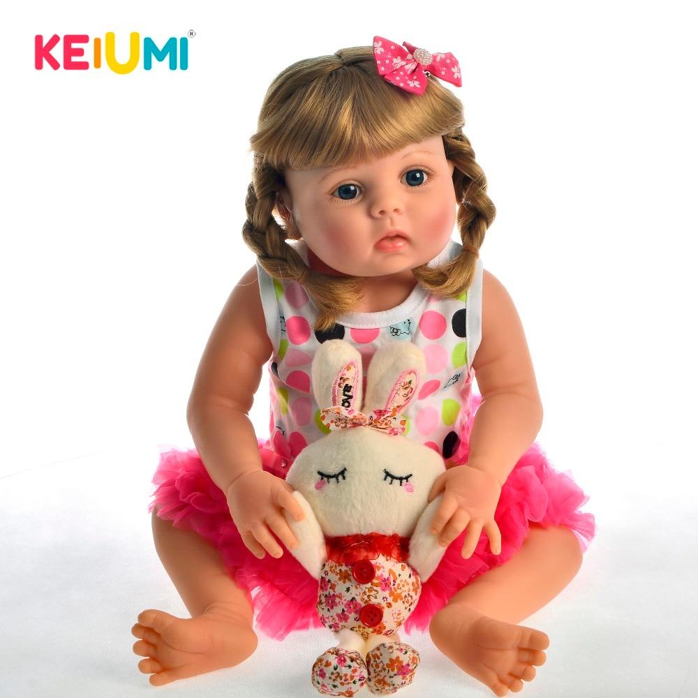 KEIUMI 23' 57cm vraie Reborn bébé poupées Adorable réaliste bambin Bonecas Menina avec pleine Silicone Surprise pour cadeau de noël-in Poupées from Jeux et loisirs    1