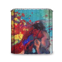 Artistic Modern Style A Man In Bright Gay Color Scenery Shower Curtain With Hooks Brand New