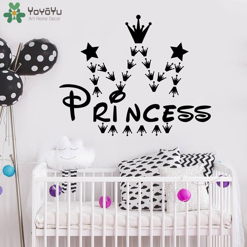 US $6.42 31% di SCONTO|Princess Crown Wall Stickers Per Bambini Camere Baby  Ragazze Camera Da Letto Della Parete Del Vinile Della Decalcomania Poster  ...