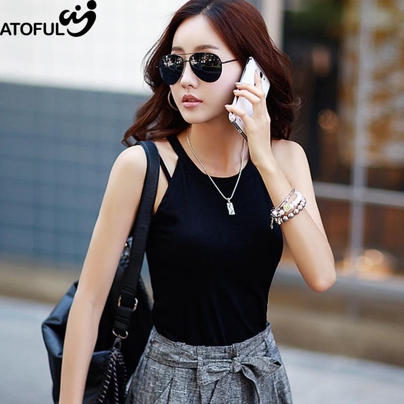 ATOFUL Women Vest Tops Korean Style Halter Neck Strapless 2017 Summer Fashion Solid Casual Sexy Slim Camiseta Tank Tops
