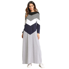 купить 185740 Muslim Middle Eastern Muslim Women's Dress European and American Long Skirt Collar Collar Striped Spliced Dress дешево