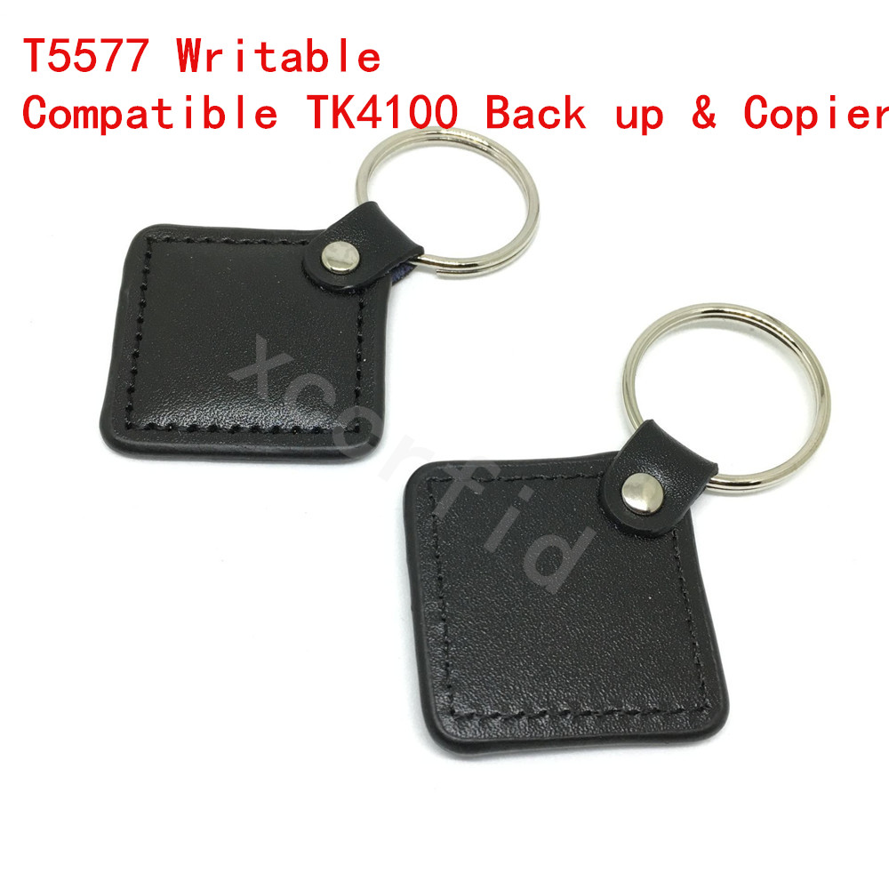 5PCS 125KHZ Rewritable with T5567/T5577/T5557 Chip RFID Promixity Leather ID Token Key Ring For