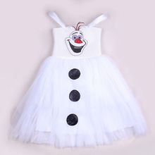 2016 Summer New White Cartoon Snowman Olaf Kids Girls Baby Sleeveless Princess Sundress Tulle Fancy Gown