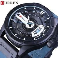 CURREN 2018 Fashion Blue Genuine Leather Creative Big Dial Men Military Wrist Watches Top Brand Luxury Quartz Watch Male Clock
