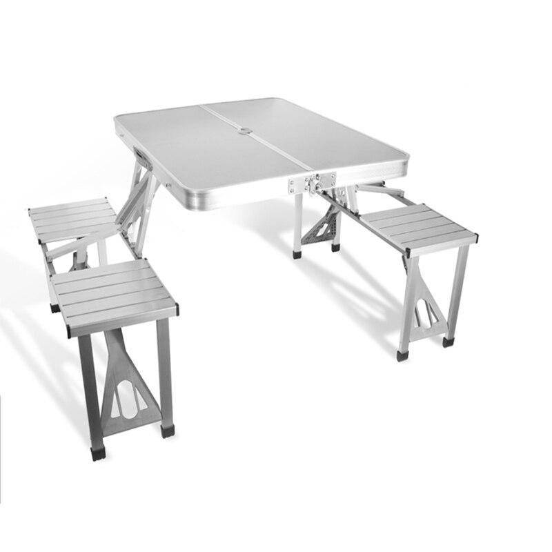 Le jardin extérieur de meubles place le bureau portatif de pique-nique de pli d'alliage d'aluminium avec quatre sièges offre spéciale la chaise occasionnelle de plage de Table