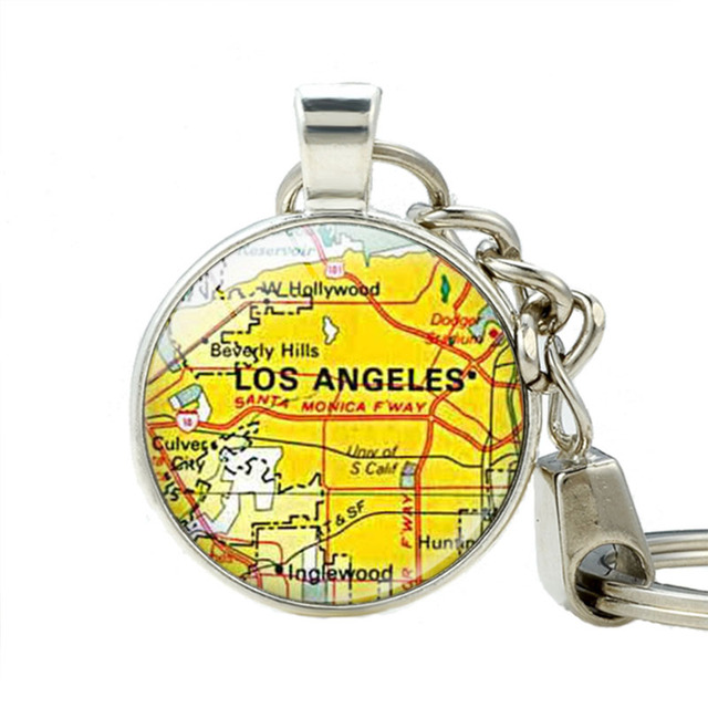 Map Of California La.Us 2 5 Los Angeles California Map Keychain La Map Pendant Keychains Jewelry Map Pendant Key Ring Statement Jewelry In Key Chains From Jewelry