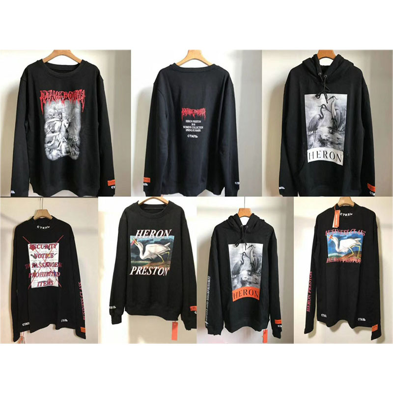 2018 New Heron Preston Sweatshirts Men Women Hip Hop Skeleton Skull Heron Preston Hoodie CTNNB Embroidery Heron Preston Pullover