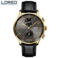 LOREO Business hommes classique bracelet en cuir étanche montre à Quartz saphir cristal montres montre homme livraison directe