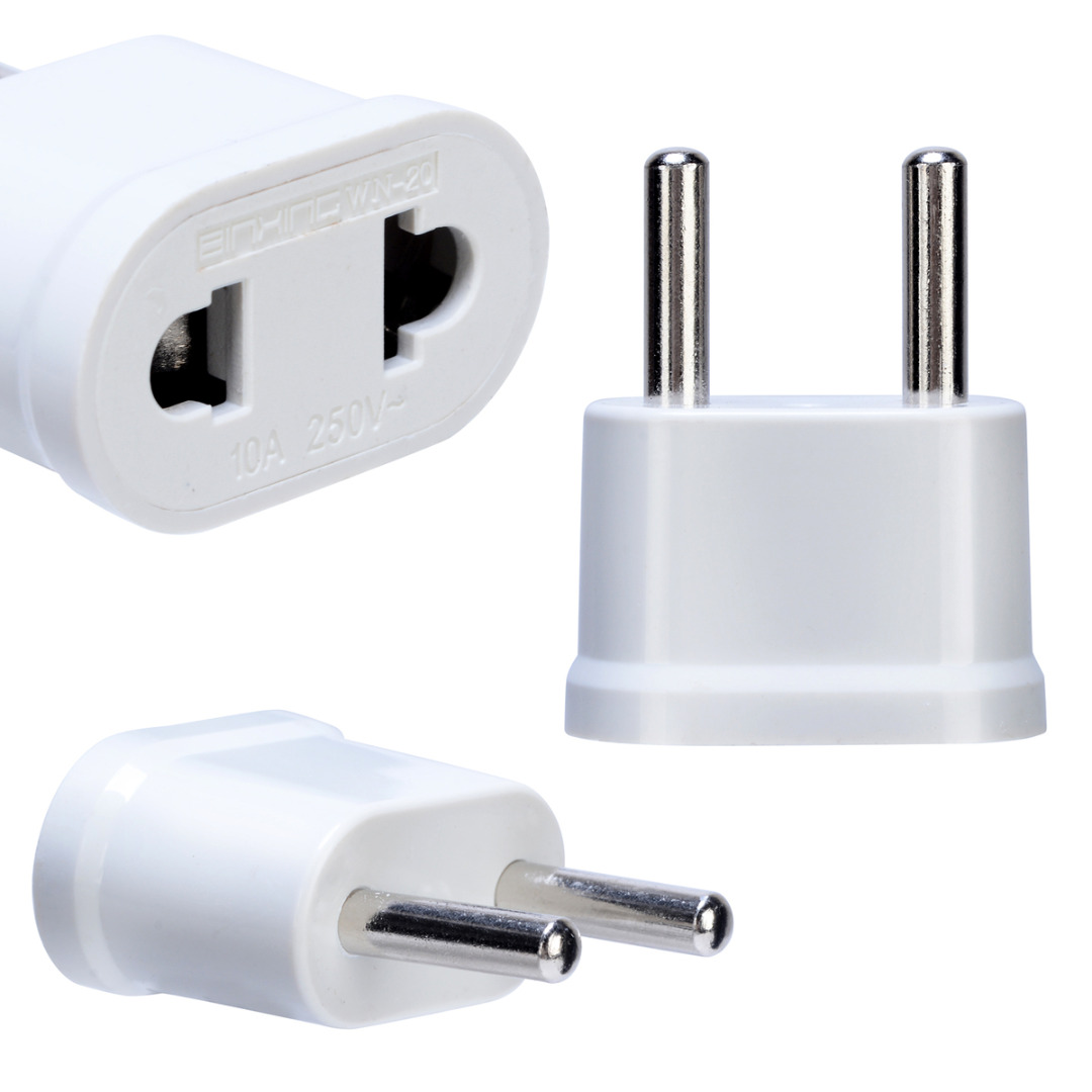 Converter Power-Plug-Adapter Wall-Charger Us-To-Eu-Plug Travel White 1pc
