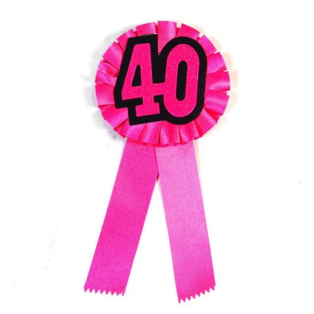 2 Stks Roze Lint Verjaardag Badge Vrouw 40 Jaar Ceremony Knop Man