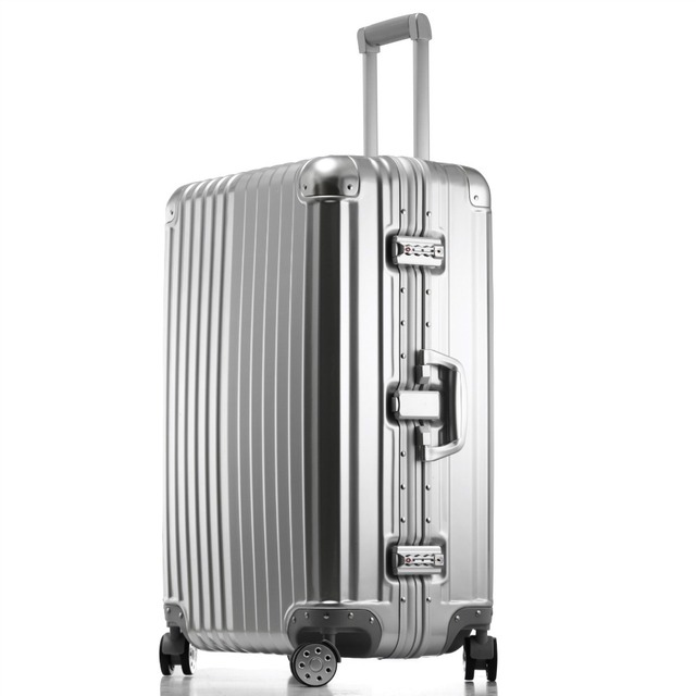 High quality aluminum alloy frame travel luggage bags,28inches pc trolley luggage on universal wheels,man and woman travel bags