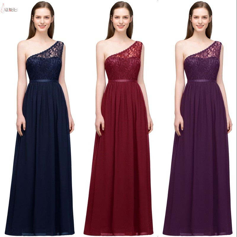 Blue Wedding Dresses 2019: 2019 Burgundy Navy Blue Purple Chiffon Long Bridesmaid
