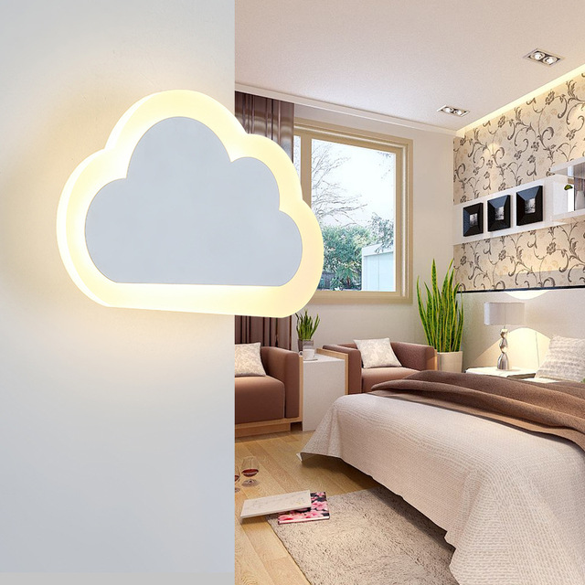 Simple Modern Bedroom Bedside Led Wall Lamp Creative Aisle Children Room Cloud Acrylic Coffee Light Free Shipping