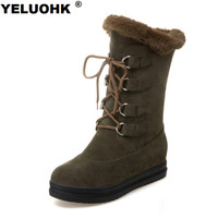Large Size 43 Half Boots Winter Shoes Warm Snow Boots Women Wedge Shoes Comfortable Women High