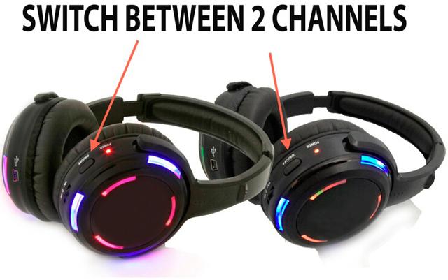 Silent Disco complete system led wireless headphones – Quiet Clubbing Party Bundle (4 Headphones + 2 Transmitters)