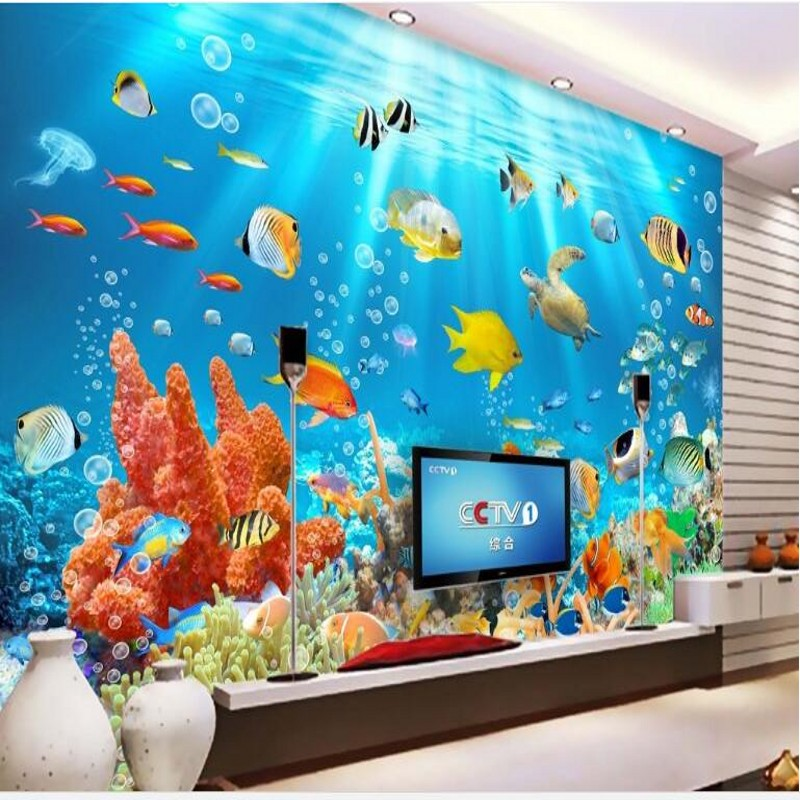 Us 885 41 Offwellyu Disesuaikan Besar Lukisan Dinding Yang Indah Ikan Dunia Bawah Laut 3d Latar Belakang Wallpaper Dinding Papel De Parede Untuk