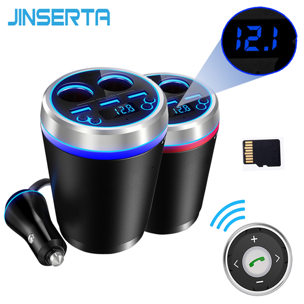 JINSERTA Car MP3 Player With Remote Bluetooth Car Kit FM Transmitter HandsFree Cigarette Lighter Splitter 3 Ports USB Charger