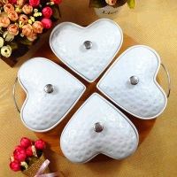 Creative Heart Shape Ceramic Assorted Serving Dish Decorative Porcelain Divisions Dinner Plate Tableware Case for Nuts and Candy