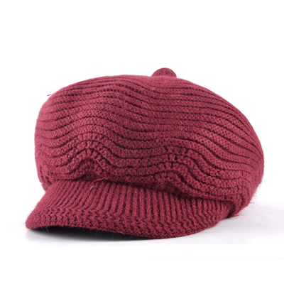 Winter Wool Warm Newsboy hat Octagonal Cap Girl Knitted Beret Women Vintage Flat chapeu Feminino