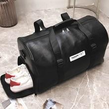 black leather travel bag men pu Leather Large Capacity Men Messenger Bags for Travel Duffle Handbags women duffel Bag