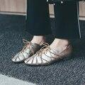 Зеленый Золотой Кожа Последнее Пришествие Женщины Плоские Шнуровкой Обувь Стиль Отдыха Удобные Выдалбливают Круглый Носок Обуви Женские