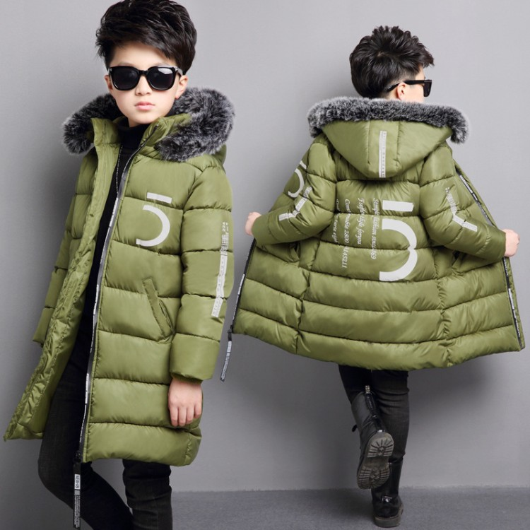 2018 Kids Long Parkas For Boys Fur Hooded Coat Winter Warm Army green Down Jacket Children Outerwear Thick Overcoat 4 6 9 10 12 children army coat real rabbit fur clothing winterreversible long parkas kids warm thick outerwear black jacket hooded coat c 7