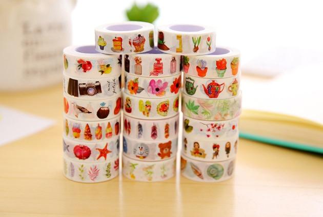 1.5cm Creative Variety Decorative Washi Tape Japan Masking Tape DIY Scrapbooking Sticker Label Masking Tape School Office Supply